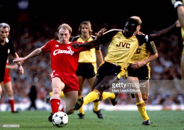 English Football League Division One Championship Decider Liverpool v Arsenal Steve McMahon is tackled by Michael Thomas of Arsenal