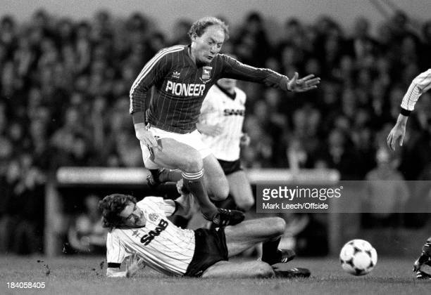 English Football League Division One Ipswich Town v Manchester City Paul Power slides in to tackle Alan Brazil