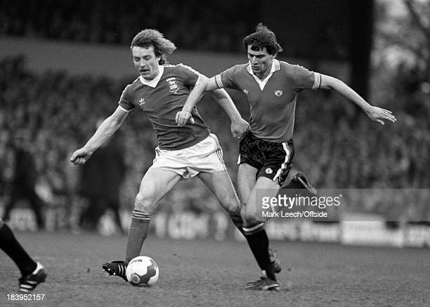 English Football League Division One Ipswich Town v Manchester United Nikki Jovanovic battles for the ball with Kevin Beattie