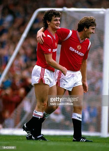 English Football League Division One Manchester United v Newcastle United Mark Hughes and Norman Whiteside celebrate Mark Hughes goal