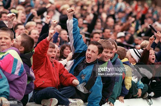 English Football League Division One Newcastle United v Tranmere Rovers Young Newcastle fans celebrate Photo by David Davies/Mark Leech Sports...