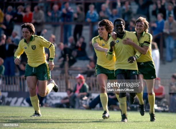 English Football League Division OneNottingham Forest v Norwich CityJustin Fashanu celebrates with his Norwich teammates Phil Hoadley Kevin Reeves...