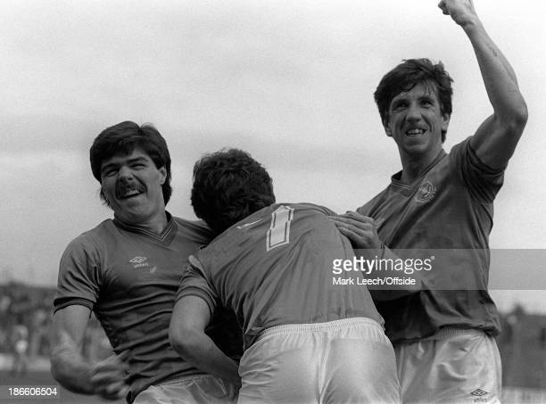 English Football League Division Two Portsmouth v Stoke City Paul Mariner and Micky Quinn celebrate a goal for Portsmouth