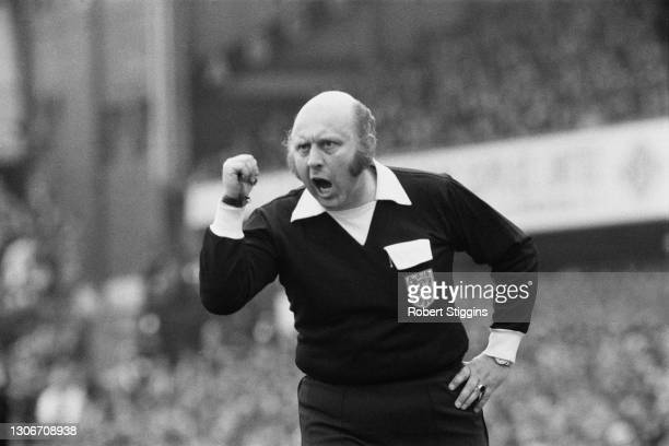English Football League Referee Roger Kirkpatrick at a match between Southampton and Manchester United at The Dell, Southampton, 31st March 1973.