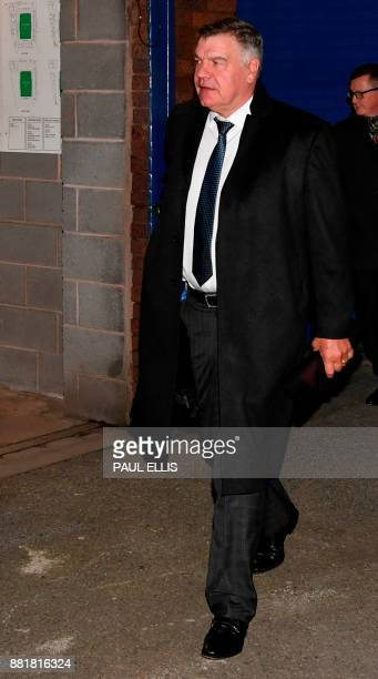 English football manager Sam Allardyce arrives at Goodison Park in Liverpool north west England on November 29 2017 to attend the English Premier...