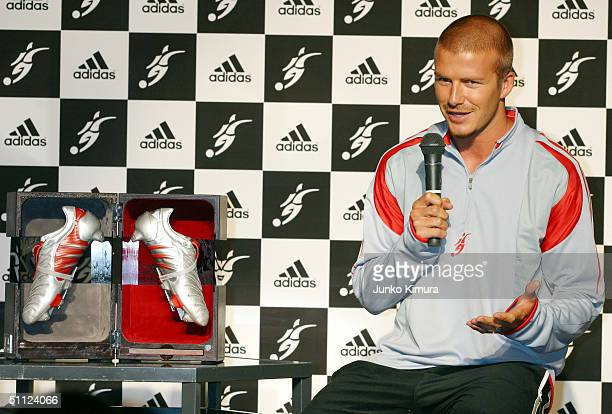 English football player David Beckham attends a press conference to introduce the David Beckham limited edition adidas PredatorPulse on July 29 2004...
