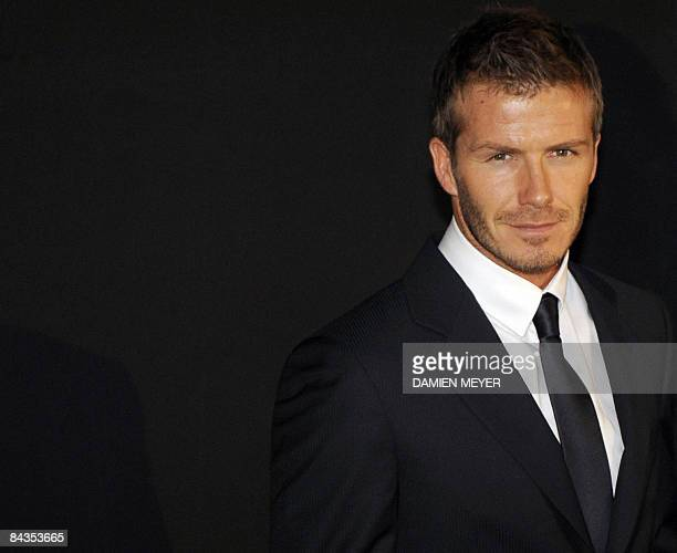 English football player David Beckham poses prior the Emporio Armani Fall-Winter 2009-2010 Menswear fashion show on January 18, 2009 during the Men's...