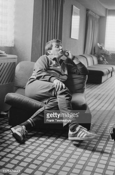 English football player, manager, pundit and chairman of Watford Football Club Graham Taylor sitting in an armchair, UK, 21st May 1984.
