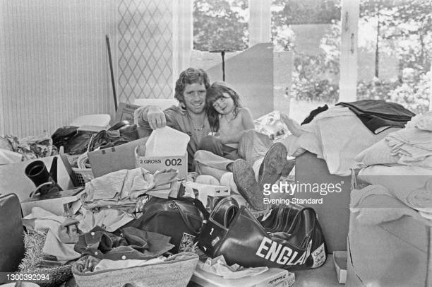 English footballer Alan Ball Jr. Of Arsenal FC with his daughter Mandy after moving into their new house, UK, 4th August 1972.