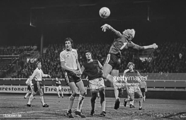 English footballer Alan Mullery of Fulham FC and Billy Bonds of West Ham United during a League Cup 3rd round match at Craven Cottage in London, UK,...