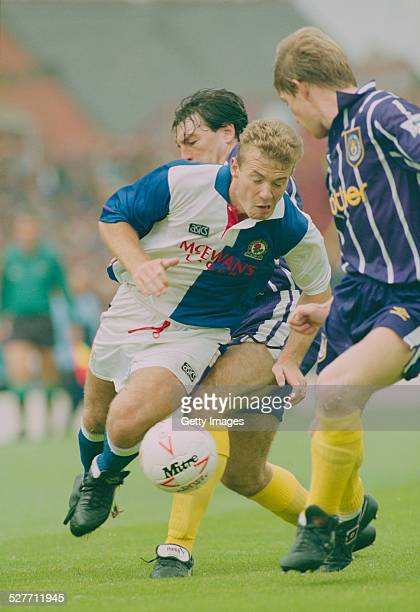English footballer Alan Shearer playing for Blackburn Rovers against Manchester City in an English Premier League match at Ewood Park Blackburn 22nd...
