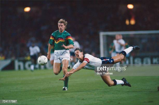 English footballer and captain of England Gary Lineker tumbles during play in the International friendly match between England and Germany at Wembley...