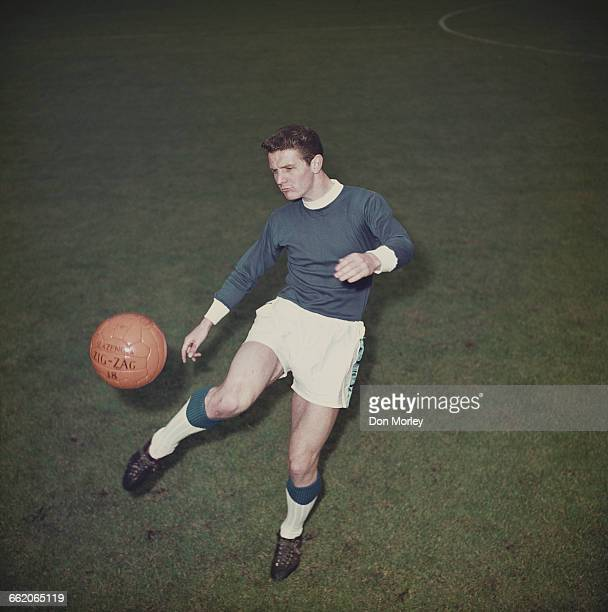 English footballer and captain of Everton Football Club Brian Labone undertakes a training session on 4 August 1962 at the Goodison Park football...