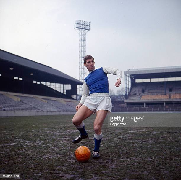 English footballer and captain of Sheffield Wednesday Football Club, Don Megson undertakes a training session at Hillsborough Stadium in Sheffield in...