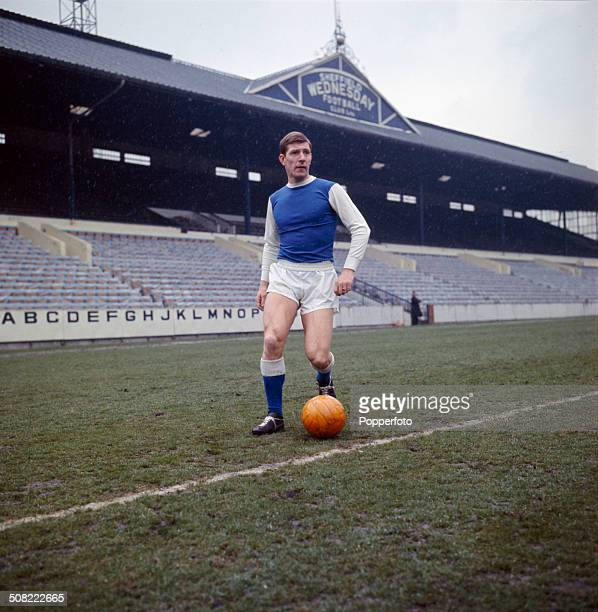 English footballer and captain of Sheffield Wednesday Football Club Don Megson undertakes a training session at Hillsborough Stadium in Sheffield in...