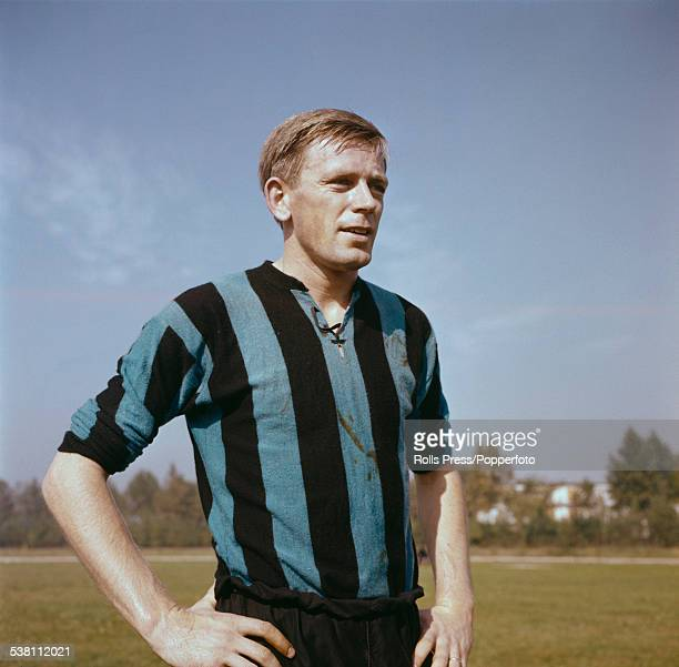 English footballer and centre forward for Internazionale Gerry Hitchens pictured during a training session for Inter Milan in Italy in 1961