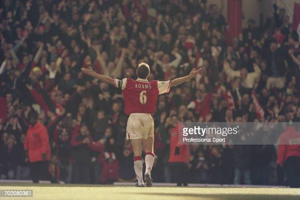 English footballer and defender with Arsenal Tony Adams celebrates with open arms after scoring a goal in Arsenal's 40 Premier League victory over...