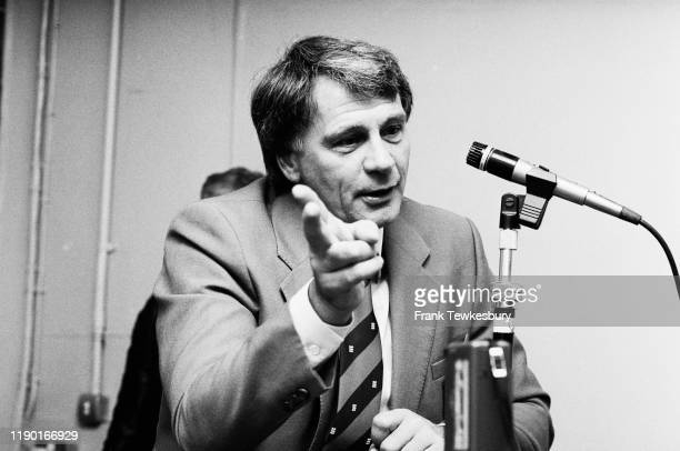 English footballer and football manager Bobby Robson talks at a press conference after England vs East Germany, International Friendly match, at...