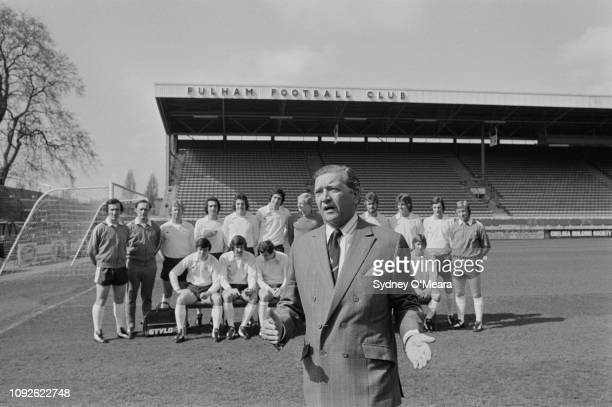 English footballer and manager Alec Stock with Fulham FC, London, UK, 25th April 1975.