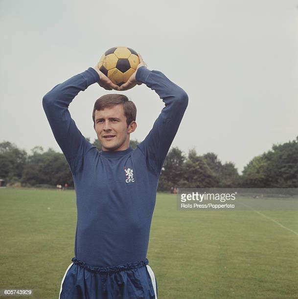 English footballer and midfielder with Chelsea FC John Hollins pictured during a press call at Chelsea's training ground in London in 1968