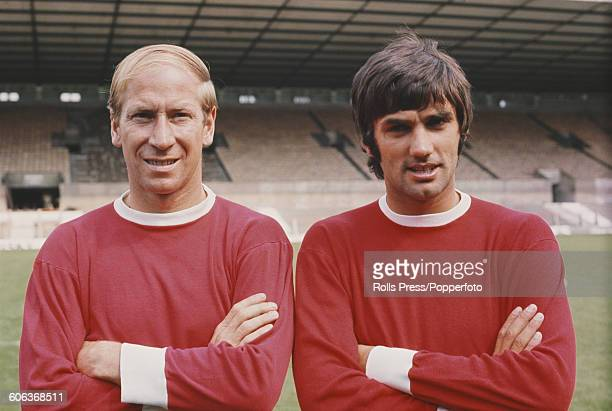 English footballer and midfielder with Manchester United Football Club Bobby Charlton posed on left with Northern Irish winger George Best on the...