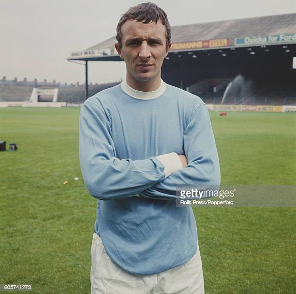 English footballer and right winger with Manchester City FC Mike Summerbee posed on the pitch inside Maine Road stadium in Manchester in July 1968
