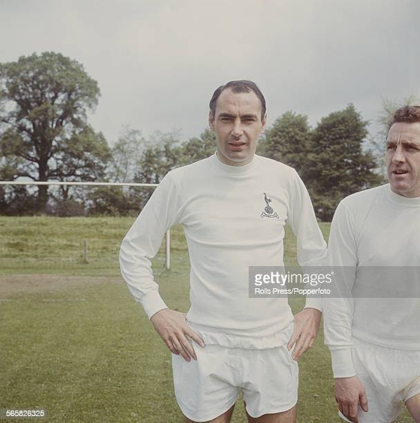 English footballer and striker with Tottenham Hotspur Alan Gilzean pictured at Spurs training ground with on right Dave Mackay circa 1967