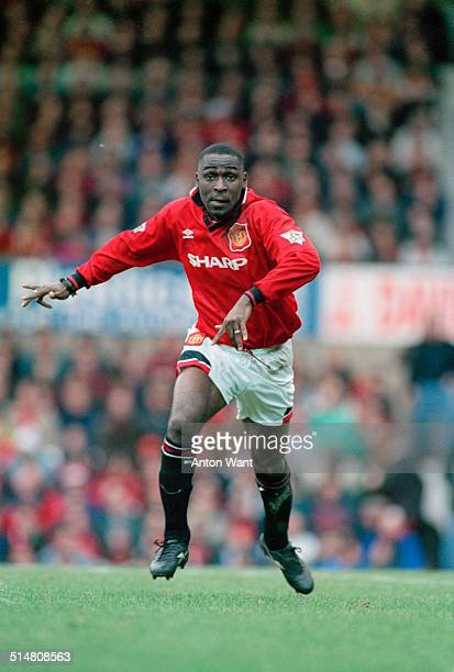 English footballer Andy Cole playing for Manchester United against Ipswich Town in an English Premier League match at Old Trafford Manchester 4th...
