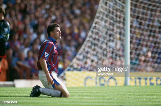 English footballer Andy Townsend of Aston Villa on the pitch during the 1993/94 season.