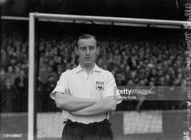 English footballer Bert Mozley , Derby County FC's right back, January 1950.