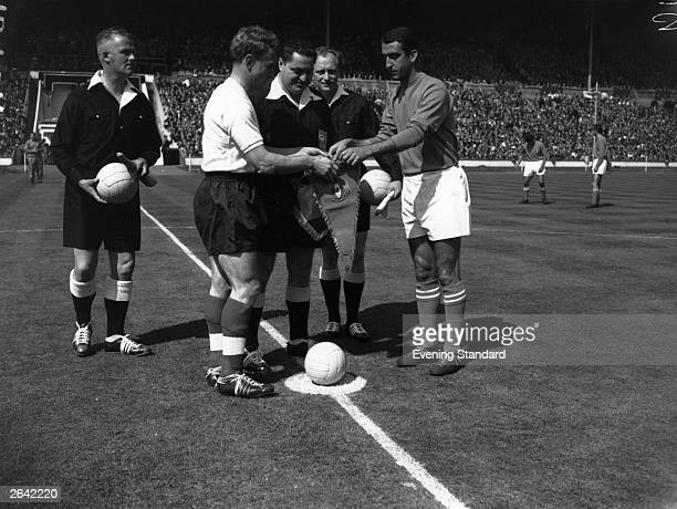 English footballer Billy Wright of Wolverhampton Wanderers at Wembley before a match between England and Italy Wright was the first player to win...