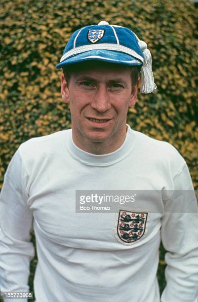 English footballer Bobby Charlton of Manchester United and England, wearing an England strip and cap, 1970. Charlton has recently retired from the...