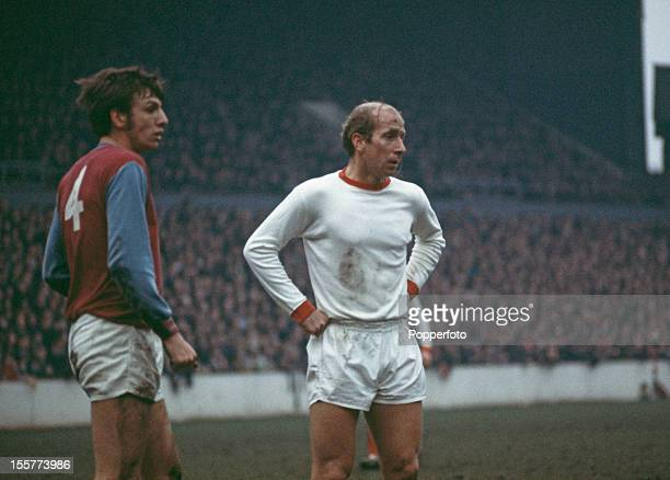 English footballer Bobby Charlton of Manchester United during a match against West Ham at Upton Park London 1970