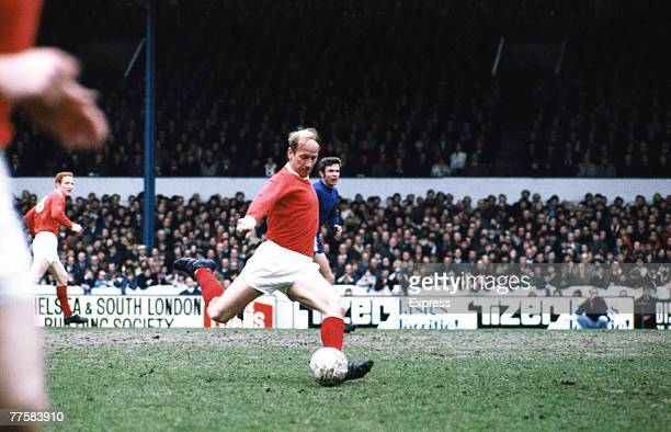 English footballer Bobby Charlton of Manchester United FC in action against Chelsea at Stamford Bridge circa 1970