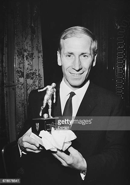 English footballer Bobby Charlton receives the Footballer of the Year Award UK 16th May 1966