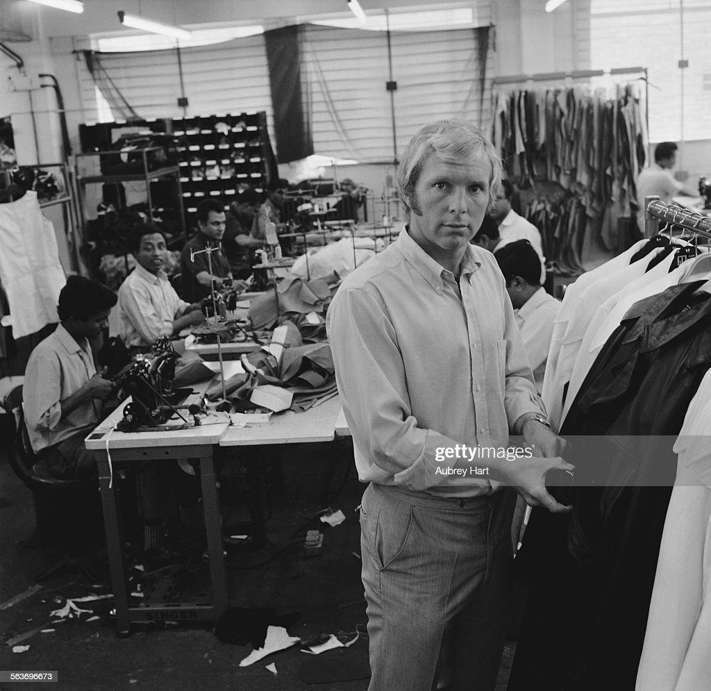 English footballer Bobby Moore at the Harrison-Moore Ltd leather coat factory in east London, which he co-owns and designs for, 9th September 1969.