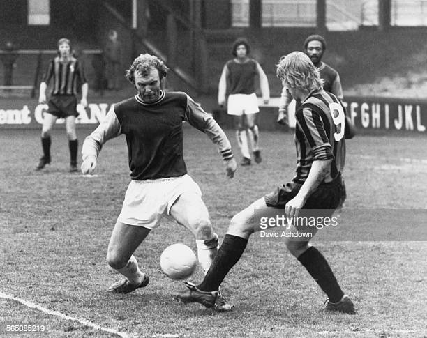 English footballer Bobby Moore in action for West Ham reserves against Plymouth Argyle reserves at West Ham's Boleyn Ground 9th March 1974 This is...