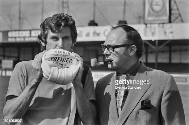English footballer Bobby Thomson of League Division 2 team Luton Town FC, with comedian Eric Morecambe , president of the club, at the start of the...