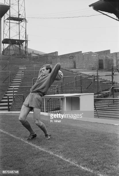 English footballer Bobby Woodruff of Wolverhampton Wanderers FC throwing a ball during trainings UK 12th October 1965