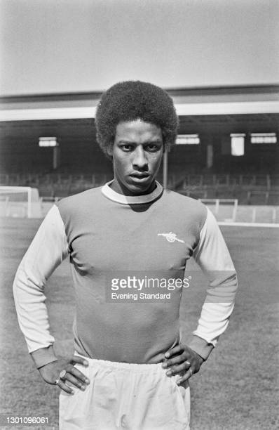 English footballer Brendan Batson of Arsenal FC, during a League Division One match against Leeds United at Highbury Stadium in London, UK, 28th...