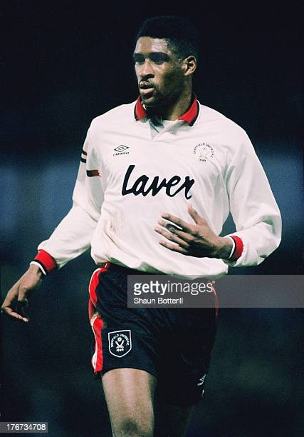 English footballer Brian Deane, of Sheffield United, during an English Premier League match against Aston Villa at Villa Park, Birmingham, 27th...