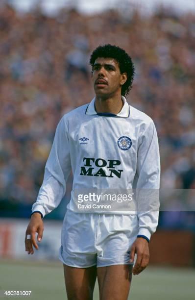 English footballer Chris Kamara of Leeds United during a match against Oldham circa 1990