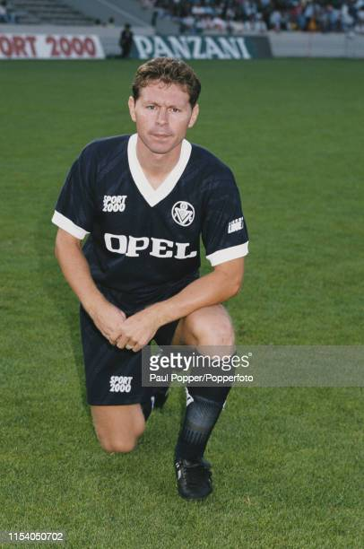 English footballer Clive Allen, forward with FC Girondins de Bordeaux, pictured on the pitch at the club's ground prior to playing in a French...