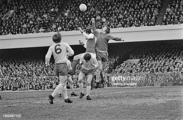 English footballer Colin Boulton , goalkeeper for Derby County FC, during a League Division One match against Arsenal at Highbury Stadium in London,...
