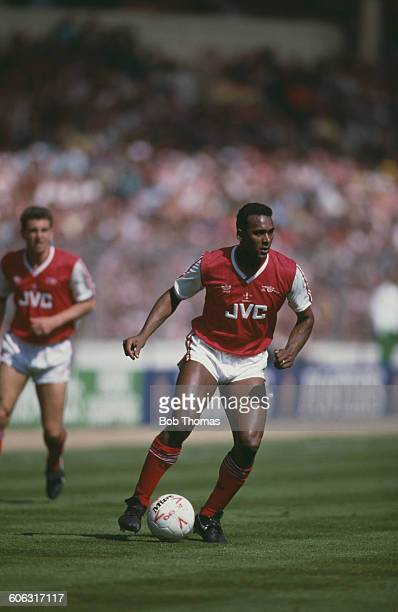 English footballer David Rocastle on the ball for Arsenal during the Football League Cup final against Liverpool at Wembley Stadium London 5th April...