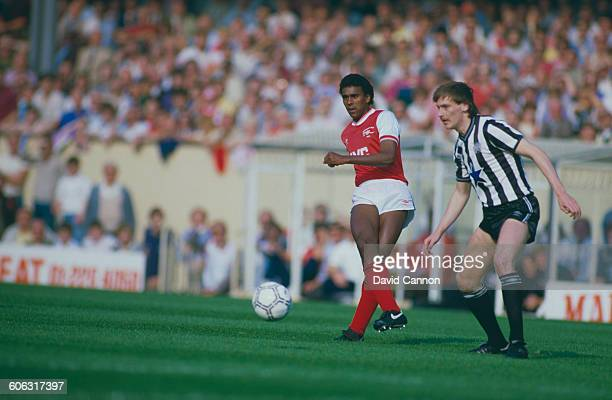 English footballer David Rocastle playing for Arsenal against Newcastle United in an English Division One match at Highbury London 28th September...