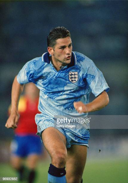 English footballer David White making his only appearance for the England national team in a friendly international against Spain at the Estadio El...