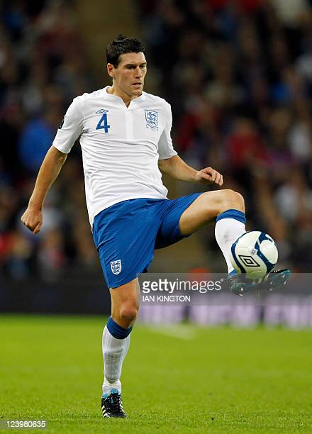 English footballer Gareth Barry is pictured during their 2012 Group G Euro Qualifier football match between England and Wales at Wembley stadium in...