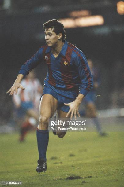 English footballer Gary Lineker, striker with FC Barcelona, pictured in action on the pitch during the Primera Division match between Barcelona and...
