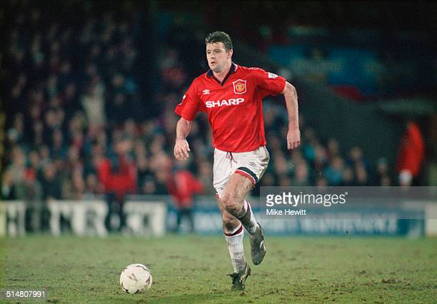 English footballer Gary Pallister playing for Manchester United against Wimbledon FC in an English Premier League match at Selhurst Park London 7th...